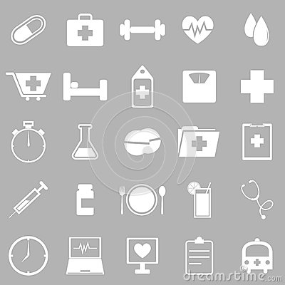 Health icons on gray background