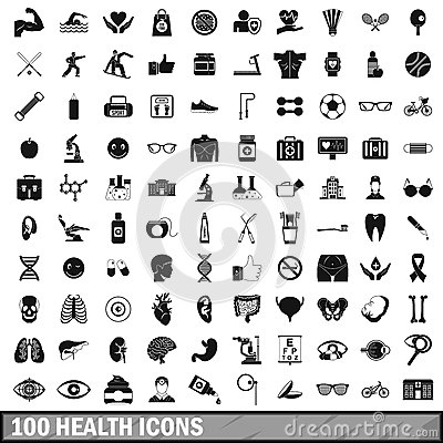 100 health icons set in simple style Vector Illustration