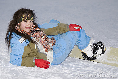 Health lifestyle image of teens snowboarder girl
