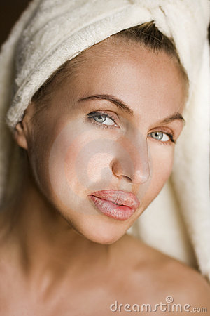 Health woman face with clean purity skin
