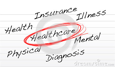 Healthcare concept illustration over a notepad