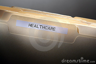 Healthcare Label on Medical History File Folder