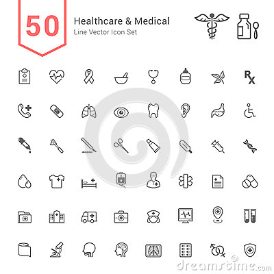 Healthcare and Medical Icon Set. 50 Line Vector Icons. Vector Illustration