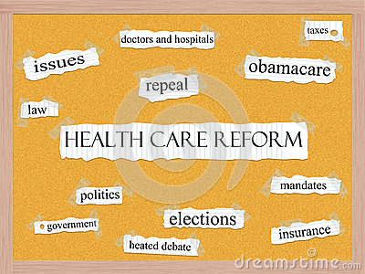 Healthcare Reform Corkboard Word Concept