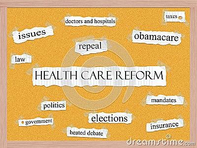 Healthcare Reform Corkboard Word Concept