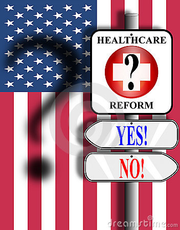 Healthcare Reform USA sign and flag