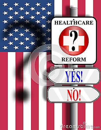 Healthcare Reform USA sign and flag