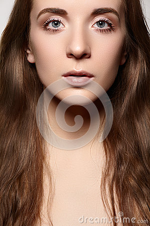 Healthcare & wellness. Beautiful woman with daily make-up, long shiny hair
