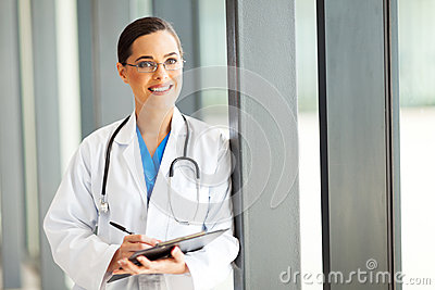 Healthcare worker writing report