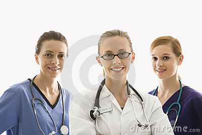 Healthcare workers smiling