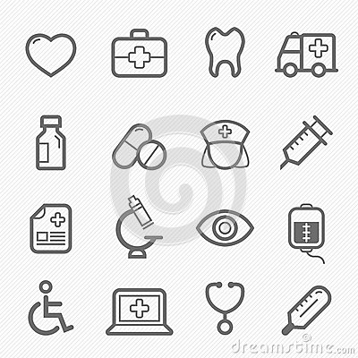 Free Healthy And Medical Symbol Line Icon Set Stock Photography - 32999042
