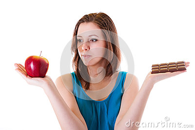 Healthy apple or unhealthy chocolate?