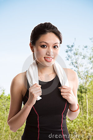 Healthy asian woman