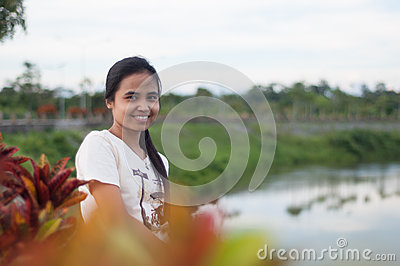 Healthy asian woman in park