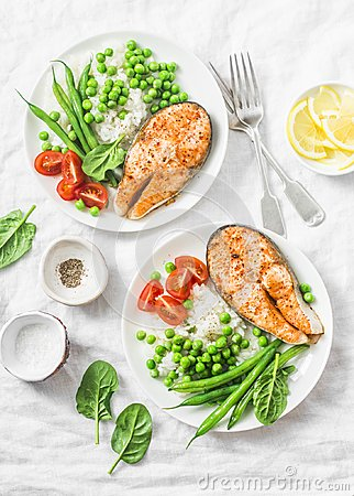 Free Healthy Balanced Mediterranean Diet Lunch - Baked Salmon, Rice, Green Peas And Green Beans On A Light Background, Top View. Stock Photos - 109522963