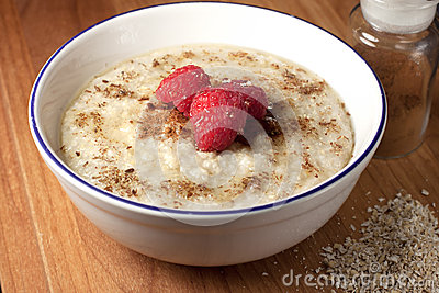 Healthy breakfast of hot oat bran cereal