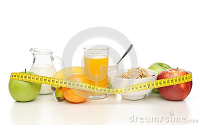 Healthy breakfast and measuring tape