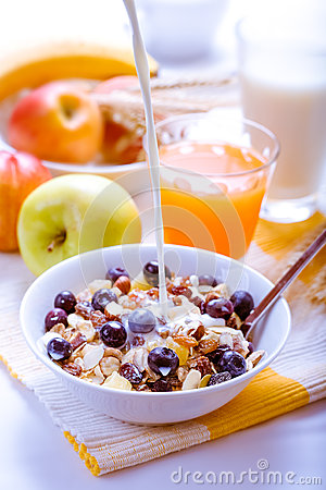Healthy breakfast muesli with blueberries