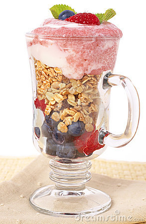 Healthy breakfast with muesli and yoghurt