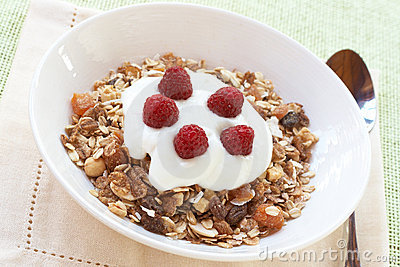 Healthy breakfast with muesli, yoghurt and berries