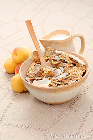 Healthy breakfast - musli and fruits