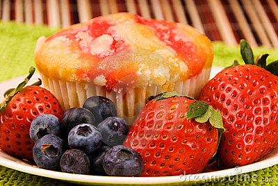 Healthy breakfast strawberry muffin
