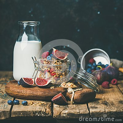Free Healthy Breakfast With Oatmeal Granola And Almond Milk, Square Crop Stock Photos - 111058613