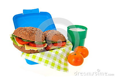 Healthy brown bread roll in blue lunch box with fruit and milk