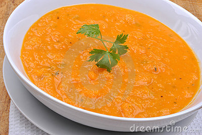 Healthy butternut squash creme soup