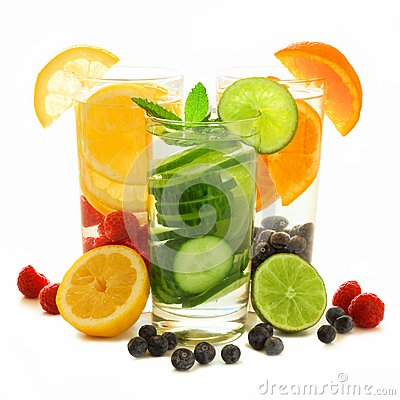Free Healthy Detox Water With Fresh Fruit Over White Royalty Free Stock Photos - 53719298