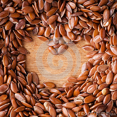 Free Healthy Diet. Flax Seeds Linseed Border On Wooden Background Stock Image - 37543951