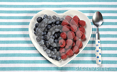 Healthy diet high dietary fiber breakfast with blueberries and raspberries in heart plate