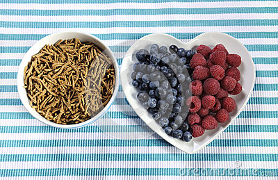Healthy diet high dietary fiber breakfast with bowl of bran cereal and berries