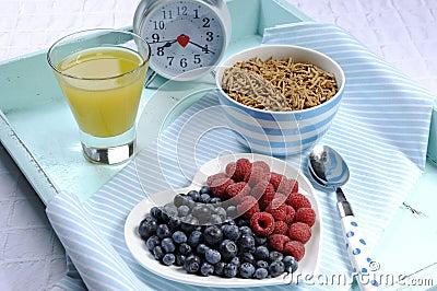 Healthy diet high dietary fiber breakfast on vintage tray