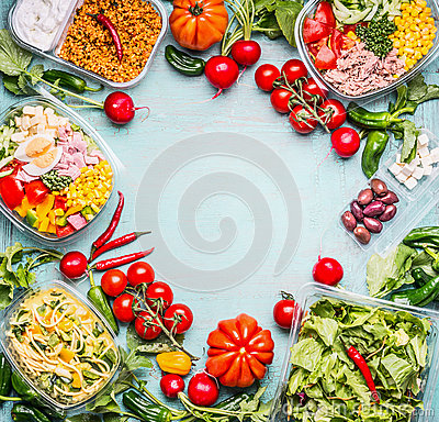 Free Healthy Eating Background With Variety Of Vegetable And Vegetables Salad Bowls. Fitness Or Diet Nutrition. Take Away Lunch Ideas Stock Image - 91484381