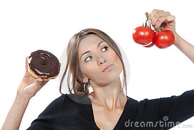 Healthy eating food concept woman donut tomatoes