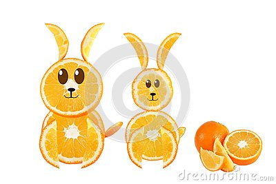 Healthy eating. Funny couple of rabbit made of the orange slices