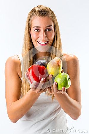 Healthy eating, woman with fruits and vegetables