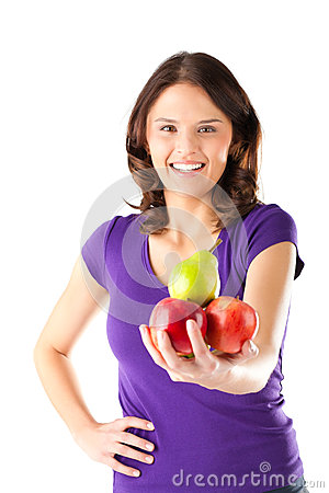 Free Healthy Eating - Woman With Apples And Pear Royalty Free Stock Photo - 26486925