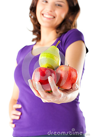 Free Healthy Eating - Woman With Apples And Pear Stock Photography - 26486932