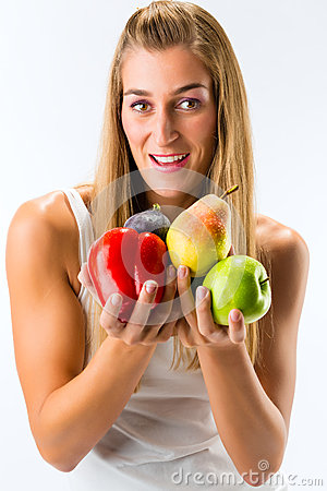 Free Healthy Eating, Woman With Fruits And Vegetables Stock Photography - 28366492