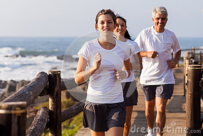 Healthy family jogging