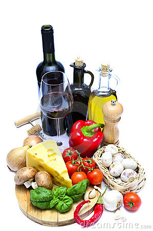 Free Healthy Food And Wine Stock Image - 18872051