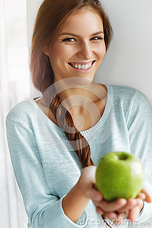 Free Healthy Food, Eating, Lifestyle, Diet Concept. Woman With Apple. Royalty Free Stock Photography - 62191737