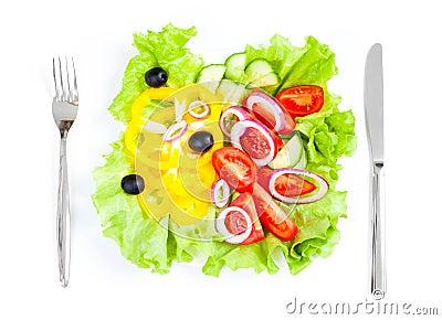Healthy food fresh vegetable salad top view