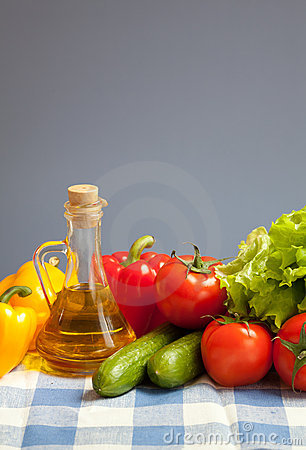 Healthy food fresh vegetables checked tablecloth