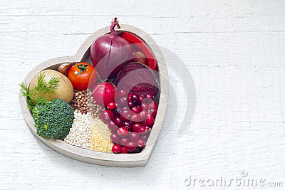 Healthy food in heart sign of healthy lifestyle Stock Photo