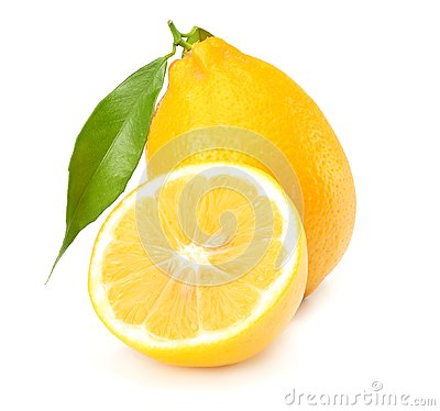 Free Healthy Food. Lemon With Green Leaf Isolated On White Background Royalty Free Stock Photo - 112018325