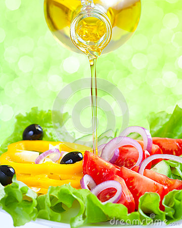 Free Healthy Food Lifestyle. Fresh Salad With Oil Royalty Free Stock Image - 25100886