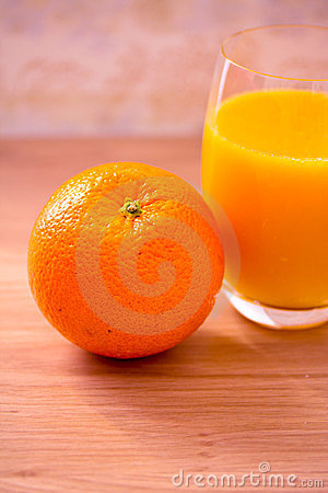 Healthy food: orange and juice for breakfast